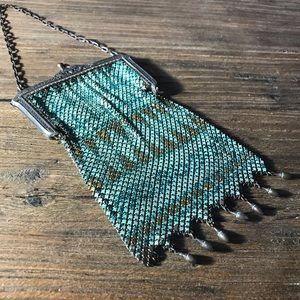 Mandalian Enameled Metal Mesh Handbag